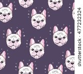 Stock vector bulldog dog pattern vector illustration 477232324