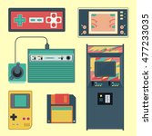 set of geek gaming retro... | Shutterstock .eps vector #477233035