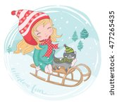 girl vector christmas card t... | Shutterstock .eps vector #477265435