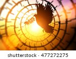 silhouette of dove carrying... | Shutterstock . vector #477272275