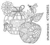 honey pot  apple doodle and... | Shutterstock .eps vector #477286051