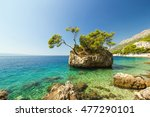 blue summer sea with shiny sky... | Shutterstock . vector #477290101