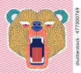 color angry bear head. stylized ... | Shutterstock .eps vector #477300769