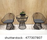 set of metal chairs and desk... | Shutterstock . vector #477307807