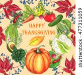 thanksgiving card in vintage... | Shutterstock . vector #477311059