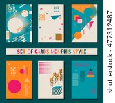 set of cards memphis style... | Shutterstock .eps vector #477312487