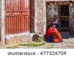 taquile island  puno  peru. may ... | Shutterstock . vector #477324709