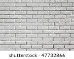 White painted blank brick wall background. - stock photo