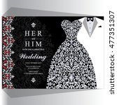 wedding invitation or card with ...   Shutterstock .eps vector #477351307