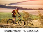 mountain bike cyclist riding... | Shutterstock . vector #477356665
