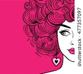 sexy woman with pink curly hair ... | Shutterstock .eps vector #477357097