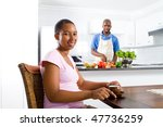 young african american wife...   Shutterstock . vector #47736259