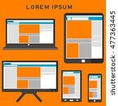 web design on phone  tablet... | Shutterstock .eps vector #477363445
