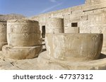 """The ancient columns of the temple """"Medinat Habu"""" in Egypt - stock photo"""