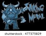 viking rock star  metal  music ... | Shutterstock . vector #477375829