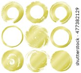 set of golden grunge circles. | Shutterstock .eps vector #477382129