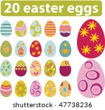 20 cute easter eggs. vector | Shutterstock .eps vector #47738236