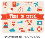 time to travel. vector icons... | Shutterstock .eps vector #477404707