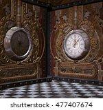 steampunk clock corner   3d... | Shutterstock . vector #477407674