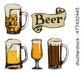 set of beer glasses. hand drawn ...   Shutterstock .eps vector #477432445