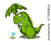 dinosaur with a flower  vector... | Shutterstock .eps vector #477450814