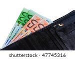 wallet with euro notes isolated ... | Shutterstock . vector #47745316