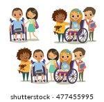 group of happy children with... | Shutterstock . vector #477455995