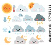 cute cartoon set with weather... | Shutterstock .eps vector #477458161