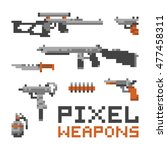 pixel art game style weapons... | Shutterstock .eps vector #477458311