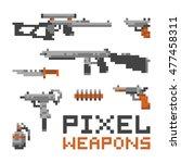 pixel art game style weapons...   Shutterstock .eps vector #477458311