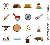 timber industry icons set in...
