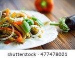 warm salad of roasted eggplant... | Shutterstock . vector #477478021