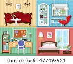 stylish graphic rooms set ... | Shutterstock .eps vector #477493921