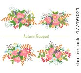 autumn collection of bouquets... | Shutterstock . vector #477499021