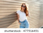 stylish pretty hipster woman in ... | Shutterstock . vector #477516451