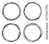 set of hand drawn scribble... | Shutterstock .eps vector #477547741