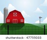 Barn  Silo And Windmill On An...