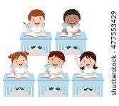 school children studying in... | Shutterstock .eps vector #477553429