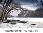 Winter lake, landscape - stock photo