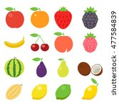 fruits icons. fruits icons art... | Shutterstock . vector #477584839