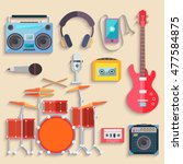 colorful musical instruments.... | Shutterstock . vector #477584875