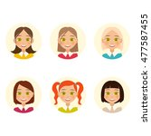 womens faces. girls with... | Shutterstock . vector #477587455