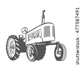 farm tractor monochrome design... | Shutterstock . vector #477587491