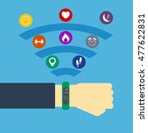 fitness tracker on hand with... | Shutterstock .eps vector #477622831