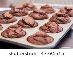 twelve freshly baked chocolate... | Shutterstock . vector #47765515