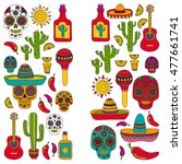 vector set of mexican icons... | Shutterstock .eps vector #477661741