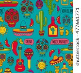 vector doodle icons mexican... | Shutterstock .eps vector #477661771