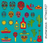 vector doodle icons mexican... | Shutterstock .eps vector #477661927