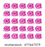 cute cartoon pink round buttons ...