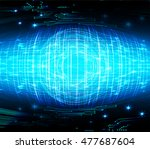 eyeball future technology  blue ... | Shutterstock .eps vector #477687604